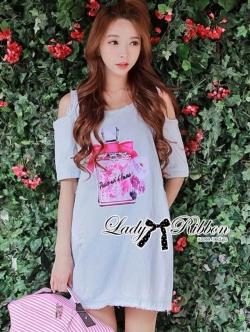 Lady Ribbon Denim Dress เดรสผ้าเดนิมพิมพ์ลายน้ำหอม