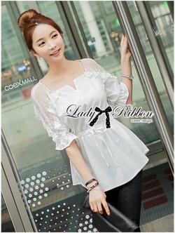 Lady Ribbon Vintage Insert Lace Cotton Blouse