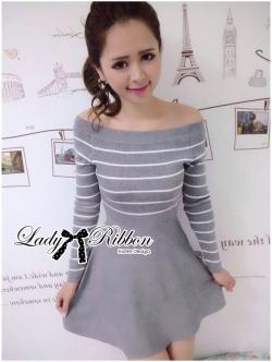 Lady Ribbon Knit Dress เดรสแขนยาวผ้านิตทอลายขวาง