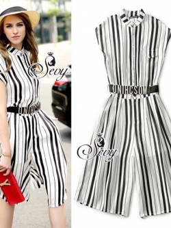 Sevy Moschino Stripped Short Bat Sleeve Jumpsuit