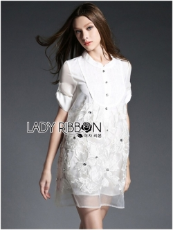 Lady Ribbon Crystal Embellished Organza Shirt Dress