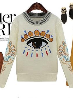 Cherry Dress Sweater สีเบจ ผ้าไหมพรมเนื้อดี ปักแปะลายด้านหน้า และแขนเสื้อ