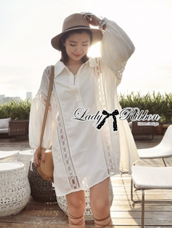 Lady Ribbon Patchwork Flared-Sleeve Shirt Dress in White