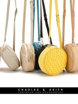 Charles&Keith กระเป๋าหนังลายสาน ทรงกลม สีพาสเทล
