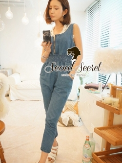 Seoul Secret Nifty Blue Tenderness Gene Long Playsuit