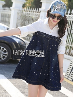 Lady Ribbon Embellished Cotton and Denim Shirt Dress