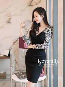 Icevanilla Romantic Black Lace Knit Dress