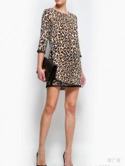เดรสผ้าชีฟอง พิมพ์ลาย Leopard สีน้ำตาล