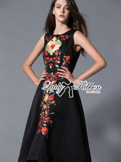 Lady Ribbon D&G Red Florals Embroidered Black Dress