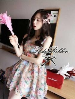 Lady Ribbon Vintage Dress เดรสชีฟอง ดีเทลหลังซีทรู