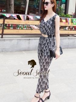 Seoul Secret จั๊มสูทกางเกงขายาว ทรงคอถ่วง แถมเข็มขัด