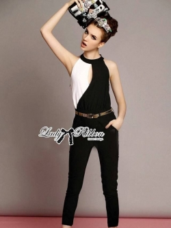 Lady Ribbon Black and White Jumpsuit with Belt