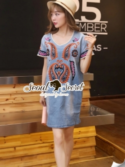 Seoul Secret Bohe Sticky Denim Dress