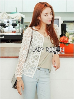 Lady Ribbon เสื้อคลุมผ้าออร์แกนซ่าปักและฉลุลาย