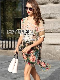 Lady Ribbon Dress เดรสผ้าซาตินลายดอกไม้