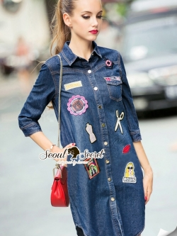 Seoul Secret Nifty&Chic Denim Dress Shirt