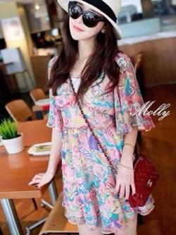 Molly Print Dress ชุดเดรสพิมพ์ลาย ผ้าชีฟองเกาหลี