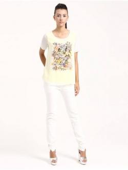 LILY เสื้อ พิมพ์ลายดอกไม้ ต่อผ้าชีฟอง ไซส์ S,M,L ขาว/เหลือง