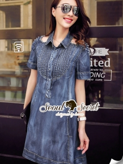 Seoul Secret Carroll Curve Shoulder Dimond Dress