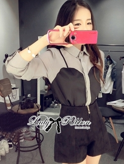 Lady Ribbon Monochrome Shirt and Hot Pants Set