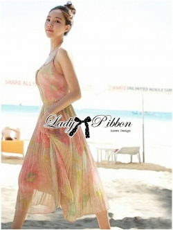 Lady Ribbon Colourful Chiffon Pleated Maxi Dress