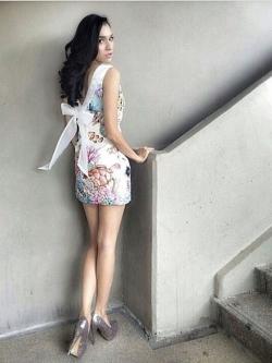 Mariane Gorgeous Ocean Print Bow V Back Dress