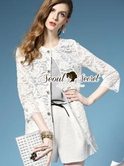 Seoul Secret Outer เสื้อคลุมตัวยาวผ้าลูกไม้