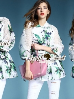 Seoul Secret Spring green Leaf Mini Dress Shirt