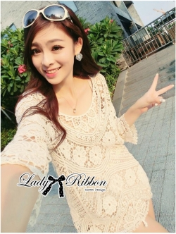 Lady Ribbon Sexy Nude Flower Crochet Mini Dress