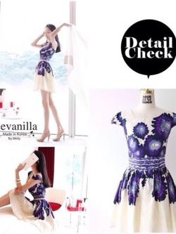Ice Vanilla Violet Flower Dress เดรสลายดอกไม้สีม่วง