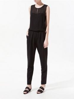จั๊มพ์สูทขายาวสีดำ ผ้าชีฟอง กางเกงตัดต่อผ้า Cotton มีกระเป๋าข้าง