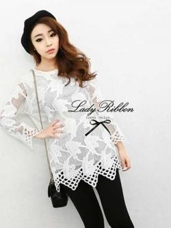 Lady Ribbon Lace Mini Dress มินิเดรสลูกไม้แขนยาว แขนซีทรู