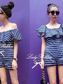 Lady Ribbon Blue Jersey Stripe Off-shoulder Playsuit