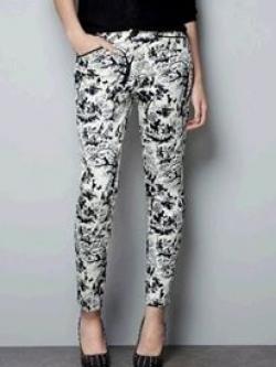 ZARA กางเกง ผ้าพิมพ์ลายขาวดำ