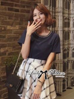 Lady Ribbon T-Shirt and Checked Skirt Set