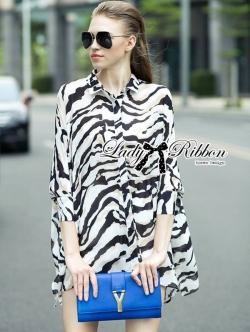 Lady Ribbon Zebra Camouflage Printed Shirt Dress