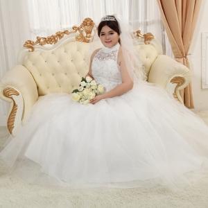 (Pre-Order) ชุดแต่งงานคนอ้วน <ปิดคอ> รหัสสินค้า PSWDL0015