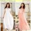Preorder ชุดเดรสผ้าลูกไม้ไซส์ใหญ่แบบยาว สีชมพู ขาว thumbnail 1