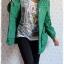 ca-2254 เสื้อโค้ทกันหนาวผ้าร่มสีเขียว รอบอก38 thumbnail 3