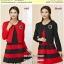 Preorder Set 2 ชิ้น เสื้อคลุม+เดรสไซส์ใหญ่ XL-3XL สีแดง ดำ thumbnail 1