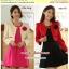 Preorder Set 2 ชิ้น เสื้อคลุม+เดรสไซส์ใหญ่ XL-3XL สีครีม-ชมพู แดง-ดำ thumbnail 1