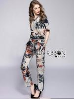 Lady Ribbon ชุดเซ็ทเสื้อกางเกงลายดอกไม้