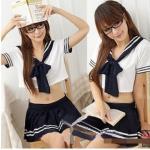 ชุดนักเรียนญี่ปุ่น เสื้อตัวสั้นเอวลอยคอปกกะลาสี คอผูกโบว์ กระโปรงจีบรอบ แต่งเส้นขาว (พร้อม กกน.เข้าชุด)