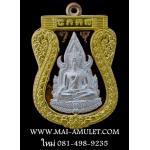 .โค้ด ๑๘๕... พระพุทธชินราช รุ่นเจ้าสัวสยาม ตำหรับหลวงปู่บุญ วัดกลางบางแก้ว นครปฐม เนื้อนวะ หน้าเงิน ซุ้มทองคำ พร้อมกล่องสวยครับ
