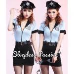 ชุดตำรวจหญิงแฟนซี เดรสผ้ายืดสีฟ้า ท่อนล่างสีดำ ซิปครึ่งตัว มีหมวก เข็มขัด กุญแจมือ และกระบอง