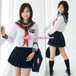 (size L) ชุดนักเรียนญี่ปุ่นแฟนซี เสื้อแขนยาวคอปกกะลาสีดำแต่งแถบสีขาว ผ้าพันคอแดง พร้อมกระโปรงจีบรอบ (ไม่มีถุงเท้าค่ะ)