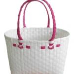 กระเป๋าเล็ก สีขาว  หูสีชมพูบานเย็น (ATS-F5)