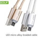 สายชาร์จแบบถัก LED Micro USB สำหรับมือถือสมาร์ทโฟนทั่วไป ยี่ห้อ GOLF