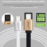 สายชาร์จแบบแบน หัว Micro USB สำหรับมือถือสมาร์ทโฟนทั่วไป ยี่ห้อ GOLF