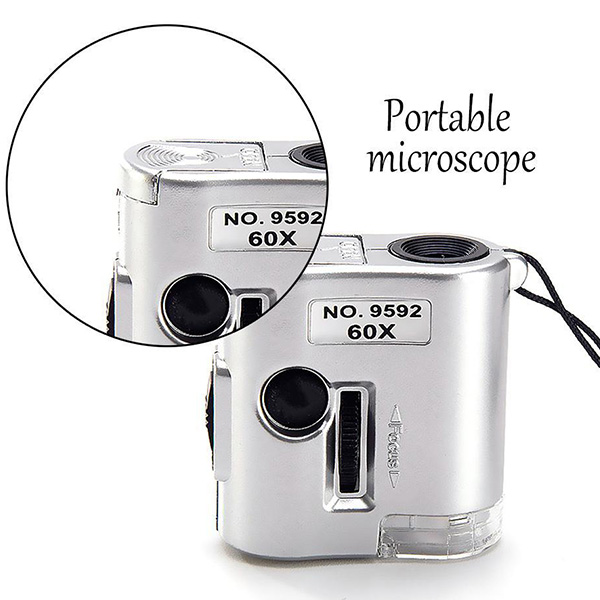 กล้องจุลทรรศน์แบบพกพา ขนาดเล็ก กำลังขยาย 60x รุ่น No.9592 Microscope